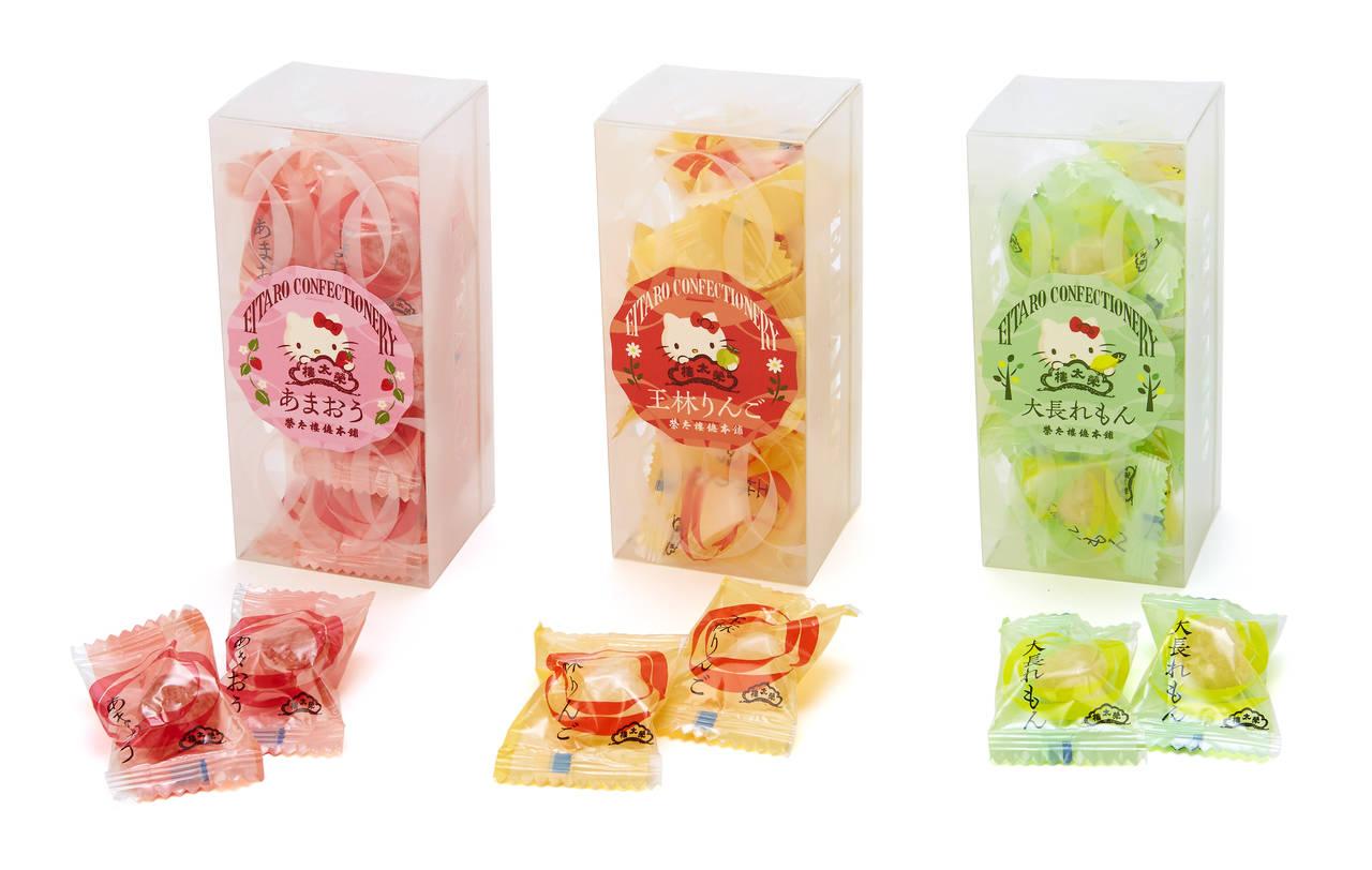 『ハローキティ』老舗和菓子店「榮太樓總本鋪」とコラボ♪ りんご、いちご、れもんの果汁飴