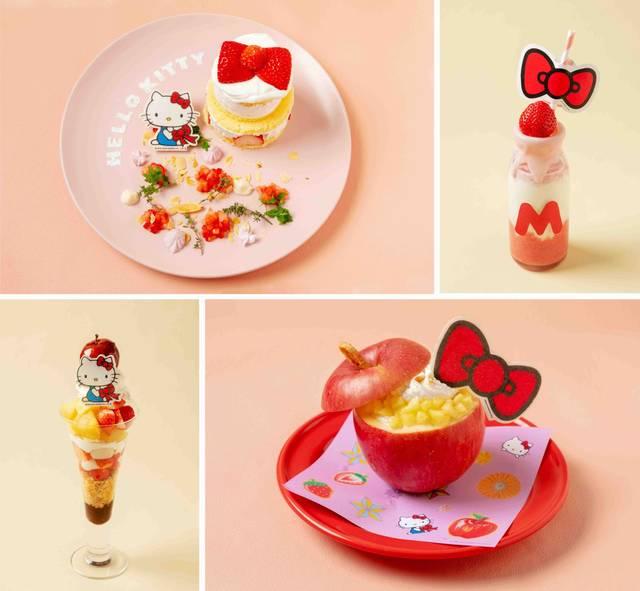 『ハローキティ』コラボカフェが梅田に登場♪ リボンやりんごがモチーフの可愛いメニュー♪