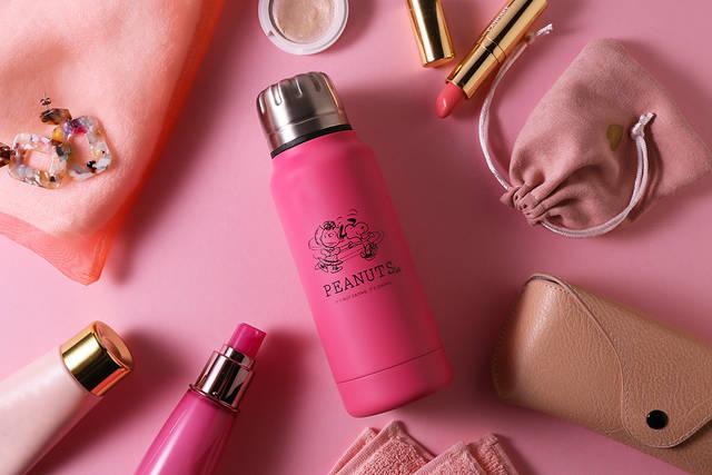 スヌーピー&サリーのアート入り♪ 『PEANUTS Cafe × thermo mug』に新色ピンクが仲間入り♪
