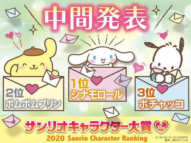 『2020年サンリオキャラクター大賞』中間結果発表! 3位『ポチャッコ』2位『ポムポムプリン』1位は?
