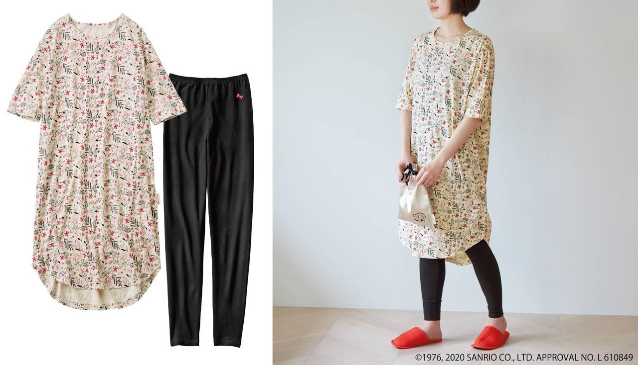 『ハローキティ』ボタニカル柄のワンピースパジャマが登場♪ おうち時間を可愛く過ごそう♪
