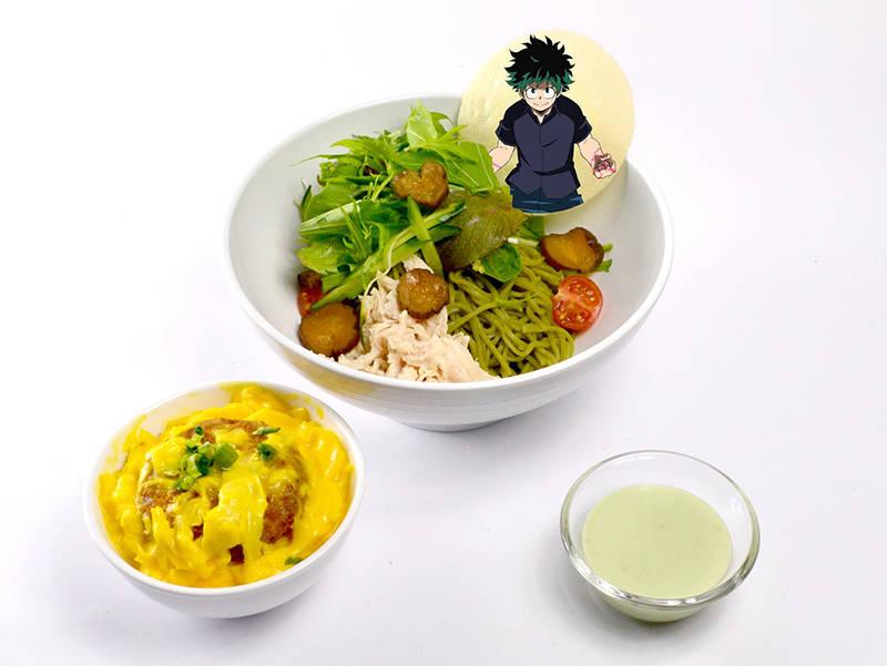 緑谷出久のミニメンチカツ丼&グリーンサラダ茶そば(960円)