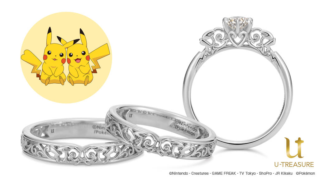 """オスとメスの""""ピカチュウ""""をモチーフにした婚約指輪・結婚指輪1"""