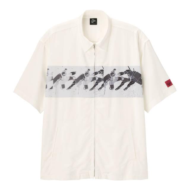 ジップアップシャツ(5分袖)GUNDAM +E)/¥2,490(税別)/GU
