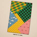 炭治郎・禰豆子・善逸・左近次・義勇の着物の柄をパッチワーク風 にデザイン。ボディのやさしいピンクの色合いが印象的。2