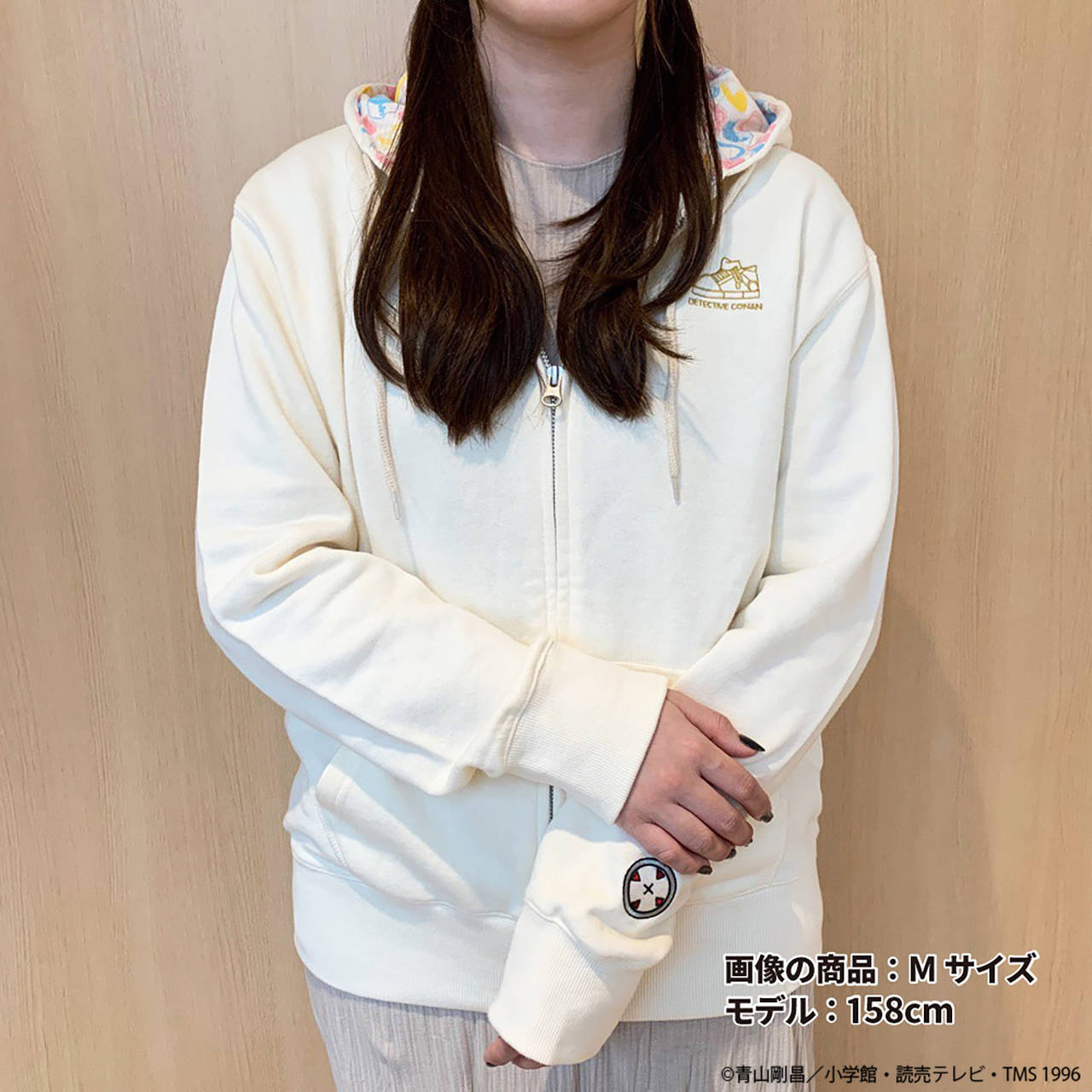 名探偵コナン 総柄パーカー ナチュラル/ブラック